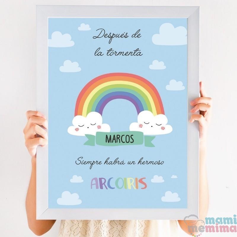 lámina decorativa arco iris personalizado con nombre