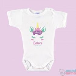 "Body Bebé Personalizado con Nombre ""Unicornio Rosa"""