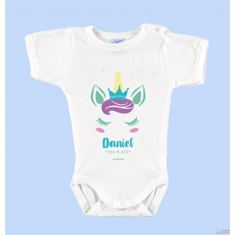"""Body Bebé Personalizado con Nombre """"Unicornio Azul"""""""