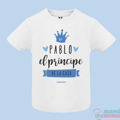 """Camiseta Infantil Personalizada con Nombre """"Soy el príncipe de la casa"""""""