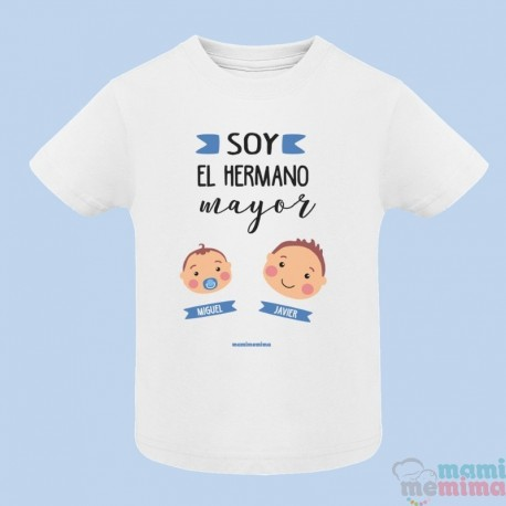 """Camiseta Infantil Personalizada con Nombres """"Hermanito Pequeño y Herman@ Mayor"""""""