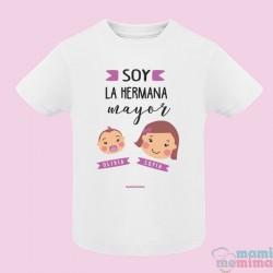 """Camiseta Infantil Personalizada con Nombres """"Hermana Mayor y Herman@ pequeñ@"""""""