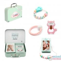 Canastilla Bebé Pink&Mint Raccon - Felicidades Mamá, Bienvenido Bebé.