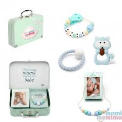 Canastilla Bebé Bluek&Mint Mapache - Felicidades Mamá, Bienvenido Bebé.