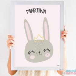 Cuadro Infantil Nórdico Personalizado Baby Rabbit