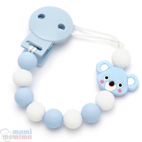 Sujeta Chupetes Mordedor Silicona Modelo Koala Blue
