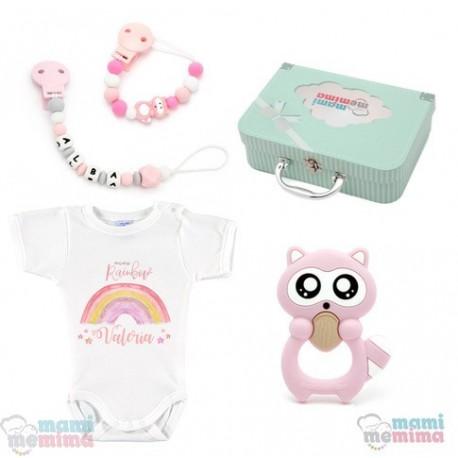 Canastilla Mima Rainbow Rosa - Felicidades Mamá, Bienvenido Bebé