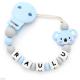 Chupetero Mordedor Personalizado de Silicona Koala Sweet Blue