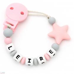 Chupetero Mordedor Personalizado de Silicona Estrella Pink
