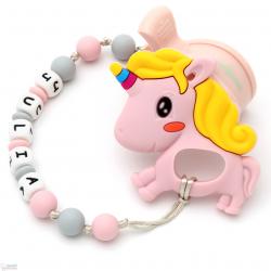 Pack Juguete Mordedor Para Carrito Personalizado Unicornio Rosa