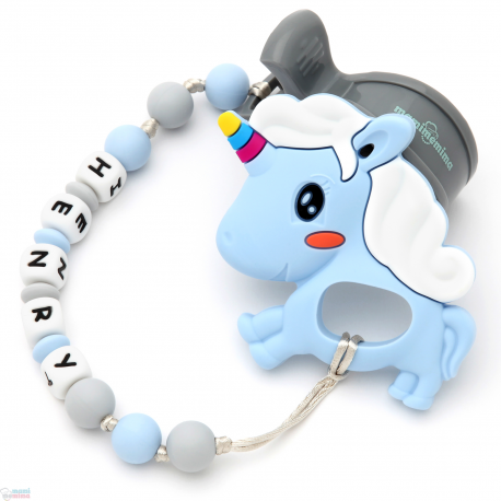 Pack Juguete Mordedor Para Carrito Personalizado Unicornio Azul