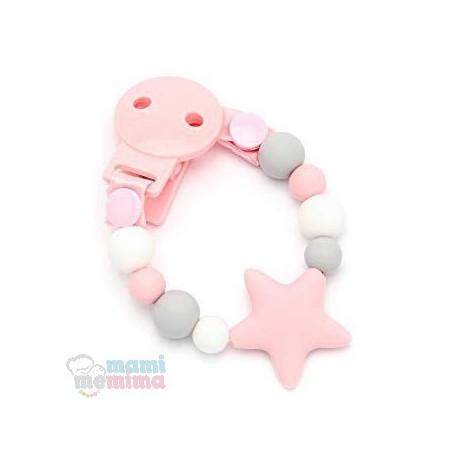 Sujeta Chupetes Mordedor Silicona Modelo Star Sweet Pink
