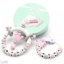 Pack Regalo Chupetero Mordedor & Sonajero Mordedor Princess Sweet Pink Personalizado con Nombre