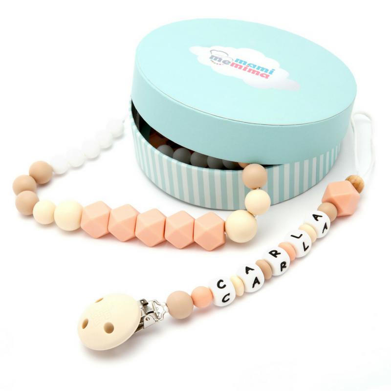 Conjunto Collar Mordedor y Chupetero Mordedor Personalizado Natural Pink