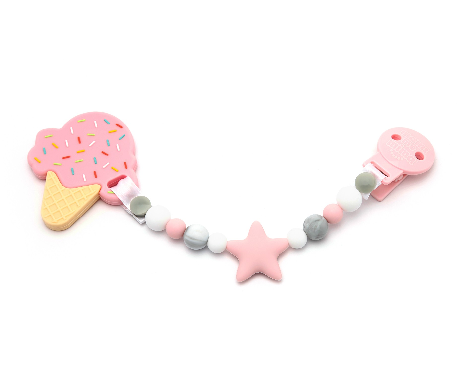 Pack Sujeta Chupetes Mordedor de Silicona Sweet Star Pink + Mordedor Ice Cream Pink