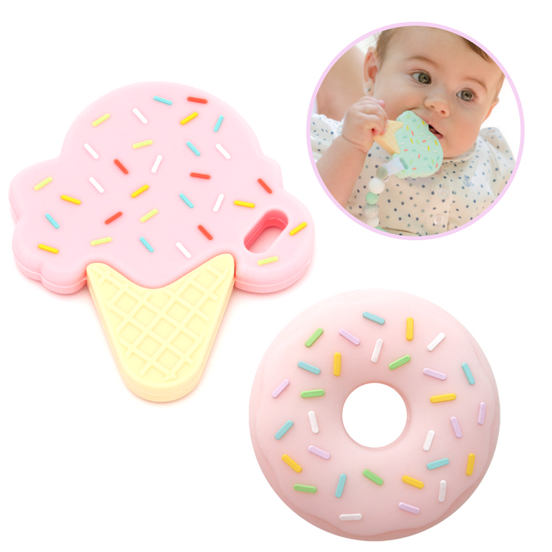 Pack 2 Mordedores Silicona: Ice Cream + Donuts Pink