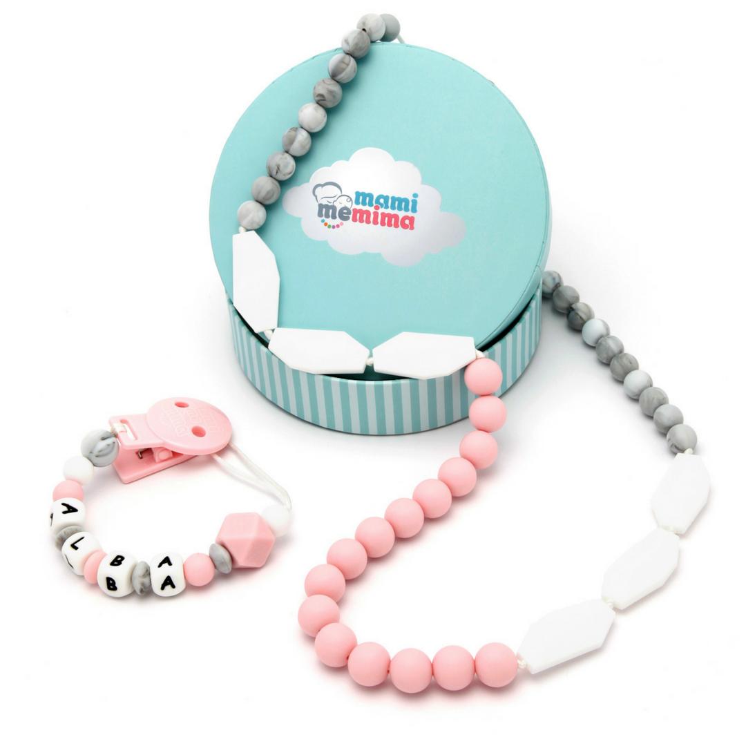 Pack Regalo Collar Mordedor y Chupetero Mordedor Personalizado Sweet Pink