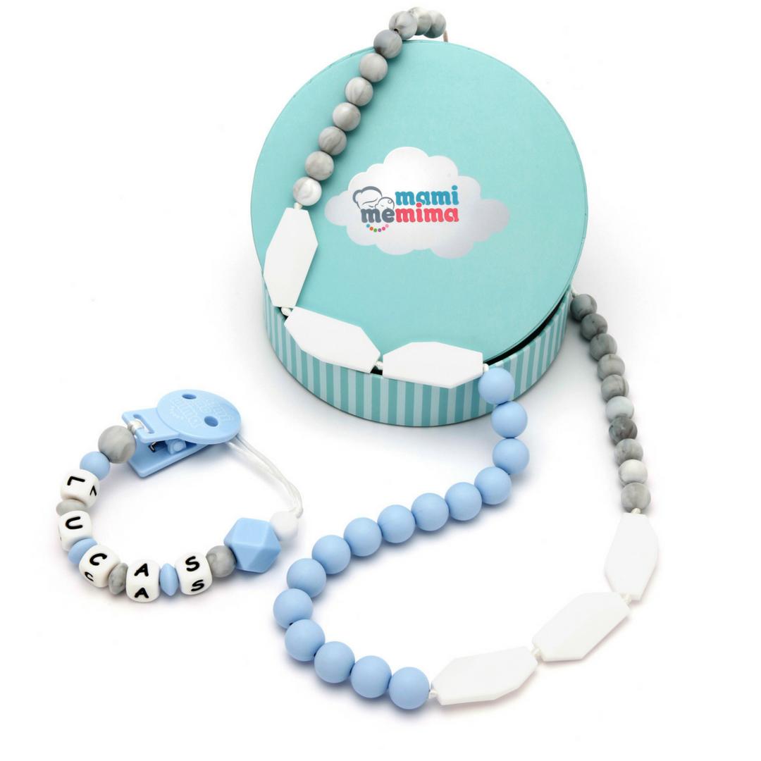 Pack Regalo Collar Mordedor y Chupetero Mordedor Personalizado Sweet Blue