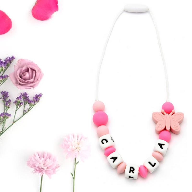 Collar Mordedor Silicona Para Niñ@s Personalizado con Nombre Butterfly