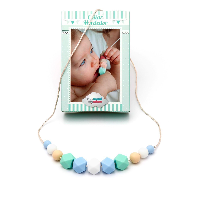 Collar de Lactancia Mordedor Silicona Modelo Blue&Mint