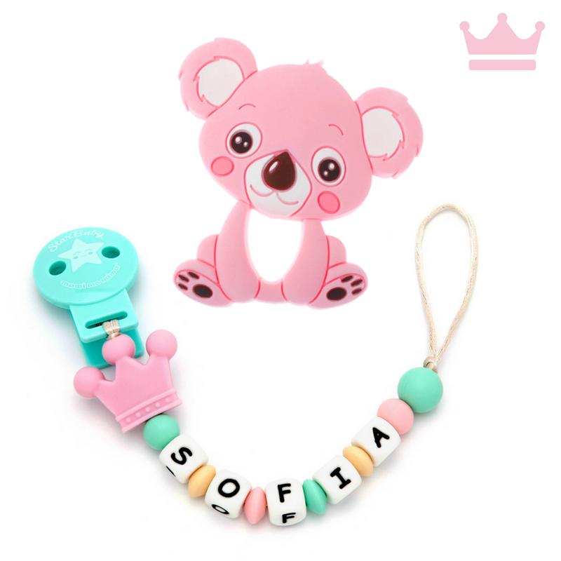 Pack Mordedor Koala + Sujeta Chupetes Mordedor Personalizado de Silicona Princess Pink