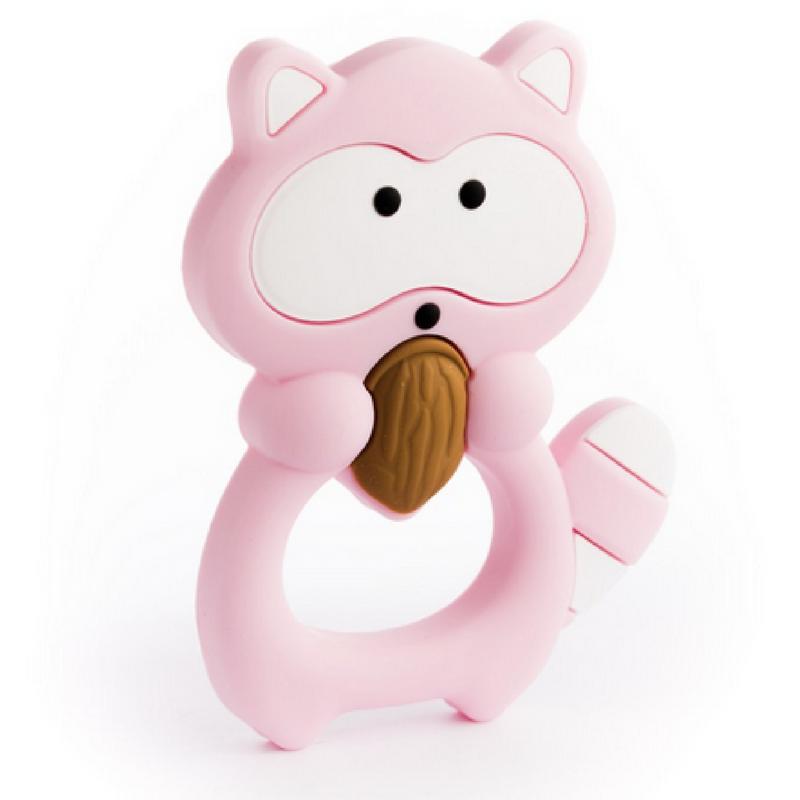 Mordedor Silicona Baby Mapache Pink