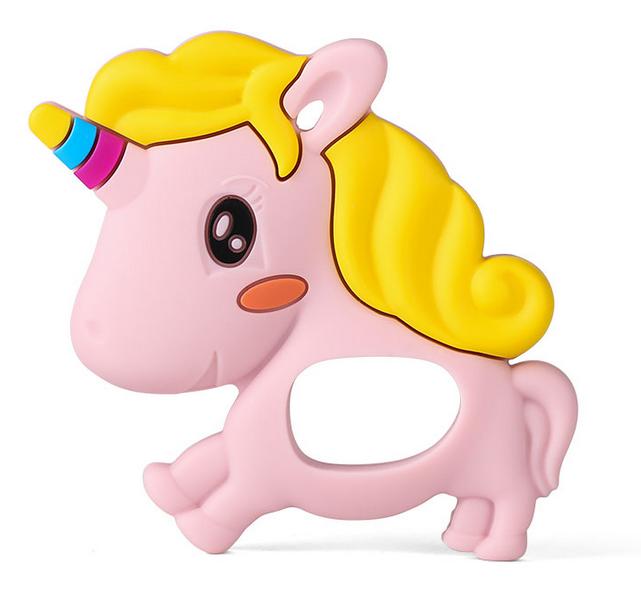 Mordedor Silicona Unicornio Rosa-Amarillo