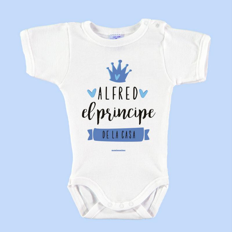 """Body Bebé Personalizado con Nombre """"Soy el príncipe de la casa"""""""