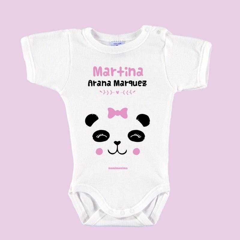 "Body Bebé Personalizado con Nombre ""Oso Panda"" Rosa"