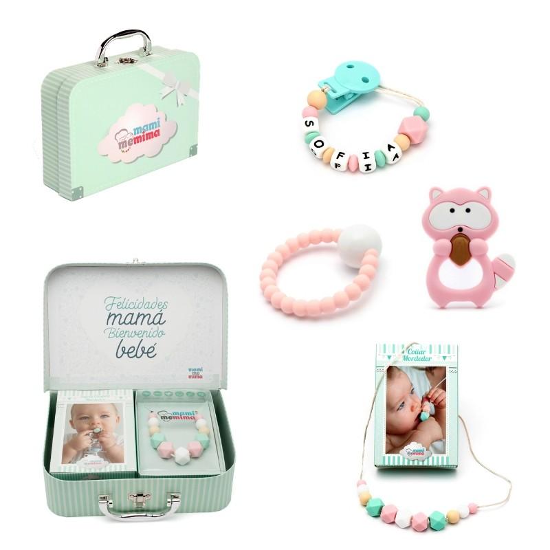 Canastilla Bebé Pink&Mint Mapache - Felicidades Mamá, Bienvenido Bebé.