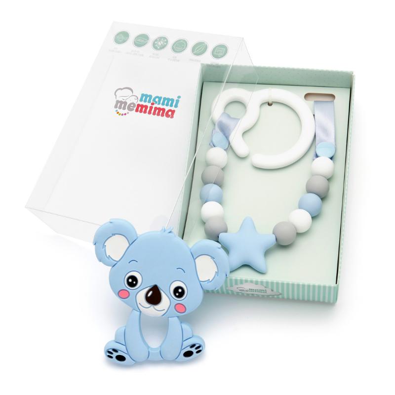 Pack Juguete Mordedor Para Carrito Sweet Blue Con Mordedor Koala Azul
