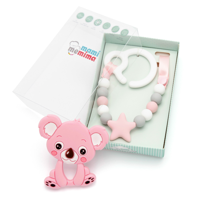 Pack Juguete Mordedor Para Carrito Sweet Pink Con Mordedor Koala Rosa