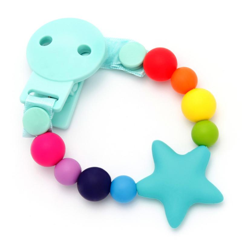 Sujeta Chupetes Mordedor Silicona Modelo Star Rainbow