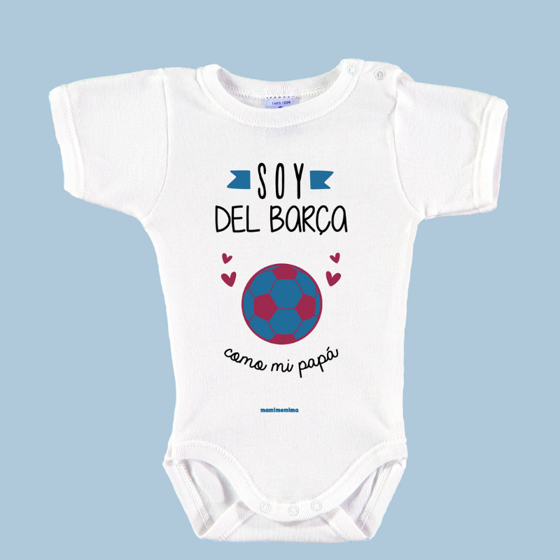 "Body Bebé Frases Papá ""Soy Del Barça Como mi Papá"""