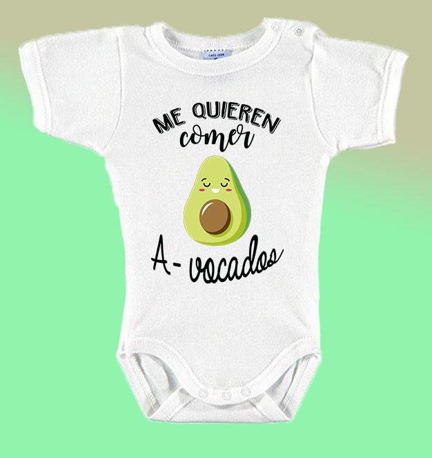 "Body Bebé Frases Divertidas ""Me Quieren Comer A-vocados"""