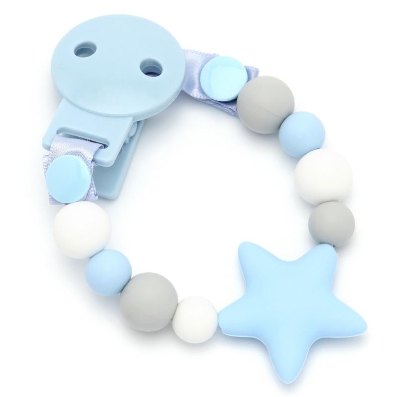 Sujeta Chupetes Mordedor Silicona Modelo Star Sweet Blue