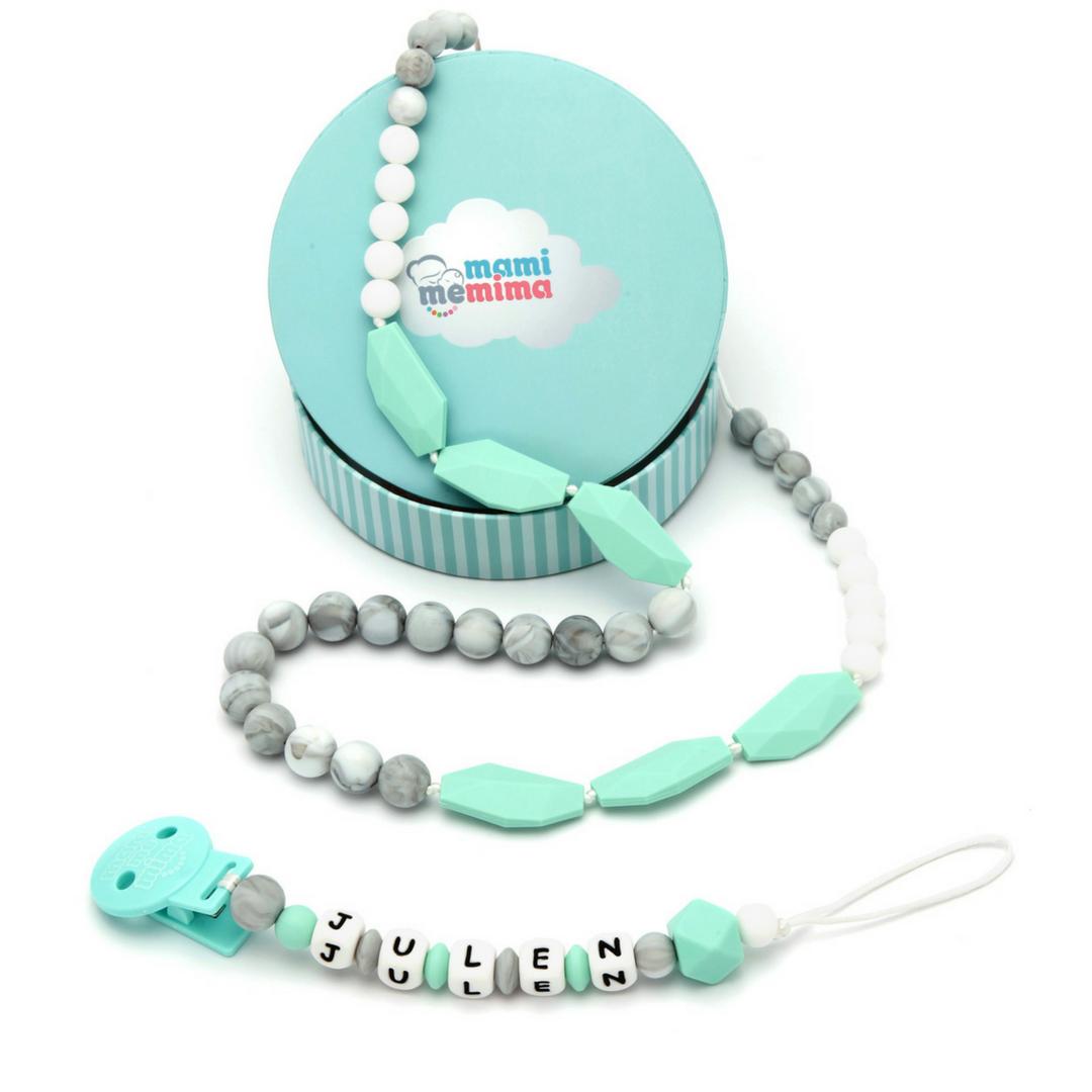 Conjunto Collar Mordedor y Chupetero Mordedor Personalizado Sweet Mint