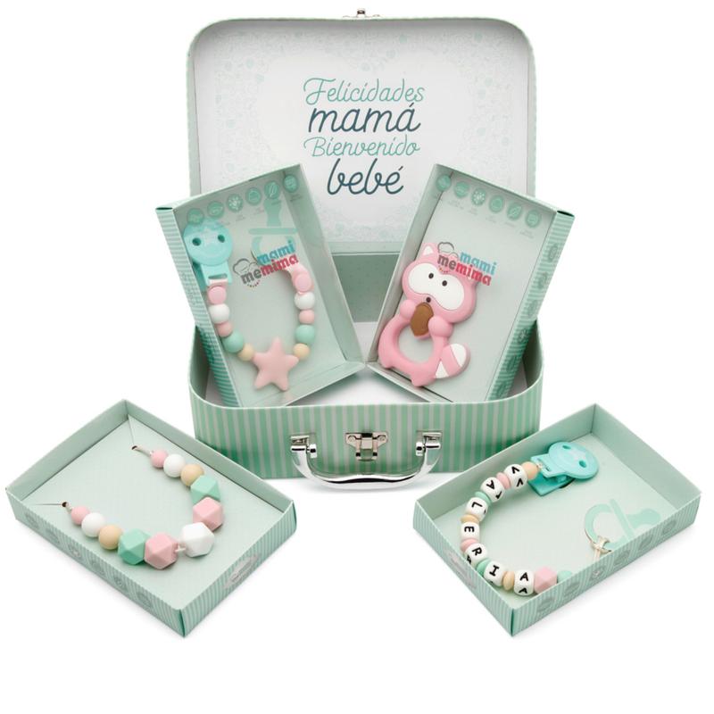 Canastilla Bebé Pink&Mint - Felicidades Mamá, Bienvenido Bebé.