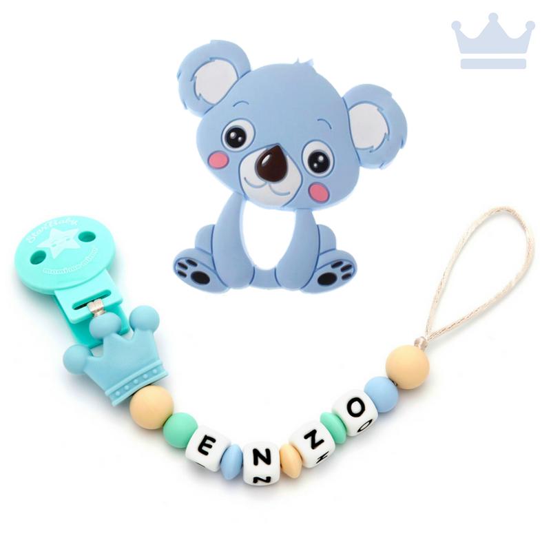 Pack Mordedor Koala + Sujeta Chupetes Mordedor Personalizado de Silicona Prince Blue