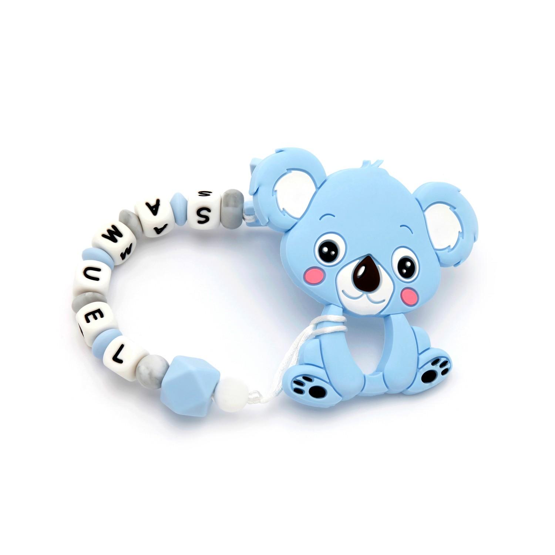 Tira de Chucha Con Nome Sweet Blue + Mordedor em forma de Koala