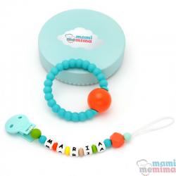 Confezione Regalo Chupetero Biter Personalizzato Menta&Grigio + Sonaglio Anello Dentizione