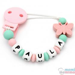 Catenella Portaciuccio Silicone Con Nome Personalizatto Farfalla Pink+Mint
