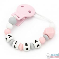 """Catenella Portaciuccio Silicone Con Nome Personalizatto """"Sweet Pink"""""""