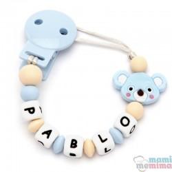 Catenella Portaciuccio Silicone Con Nome Personalizatto Natural Blue Koala