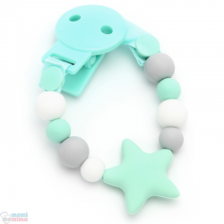 Catenella Portaciuccio Dentarello Silicone Star Sweet Mint
