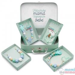 Cesta de Nascimento Mãe e Bebê Blue&Mint - Parabéns Mãe, bem-vindo bebê
