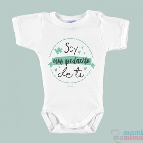 """Body Bebê Personalizado """"Eu sou um pedaço de você"""" Mint"""