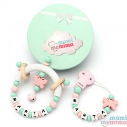 Pacote Presente Prende Chupeta e Chocalho Mordedor Personalizado Borboleta Pink+Mint