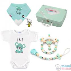 Cesta de Nascimento Mãe e Bebê Koala Natural Mint|Parabéns Mãe, bem-vindo bebê