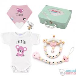 Cesta de Nascimento Mãe e Bebê Koala Natural Pink |Parabéns Mãe, bem-vindo bebê